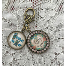FORGET~ME~NOT Glass Dome Charm Rhinestone ZIPPER PULL Key Ring VICTORIAN Floral
