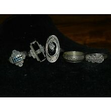 VINTAGE 925 STERLING SILVER RING THAILAND LOT OF 5 RINGS Lot2