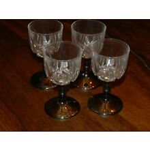 VTG  ITALY MCM SILVER PLATE CRYSTAL CORDIAL GOBLET SET OF 4 WINE GLASSES