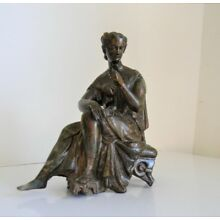 Spelter Lamp Base Lady Figure Art Deco Vintage Bronze Lady Base Art Deco