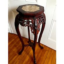 18c Antique Chinese Carved Rosewood / Marble Top Tall Plant Stand Table