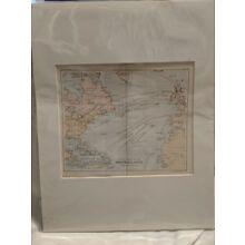 Vintage Book Plate Artwork - 1890 Sketch Chart of North Atlantic Map
