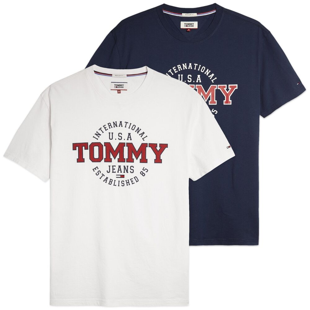 a2702ba76 Details about Tommy Hilfiger T-Shirt - Tommy Jeans Circular Printed Tee -  Navy
