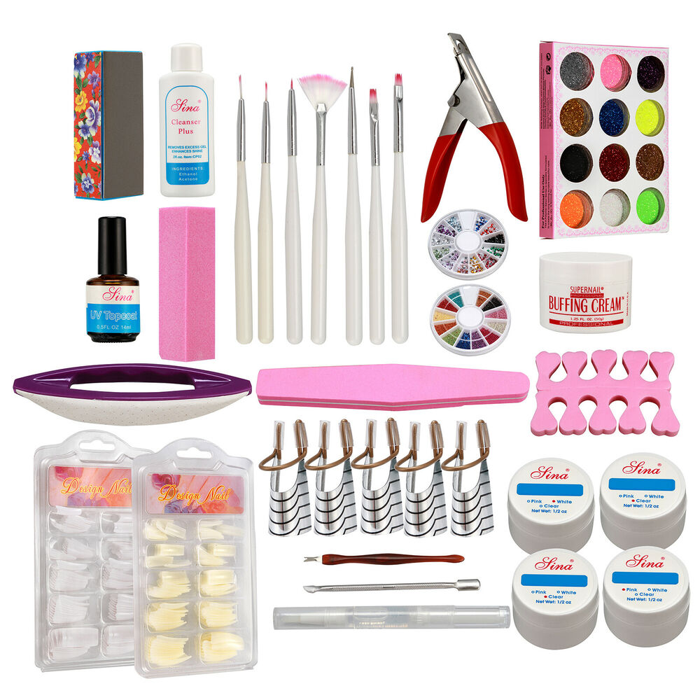 Nail Care Manicure Accessories Kits UV Gel Buffing Cream Acrylic ...