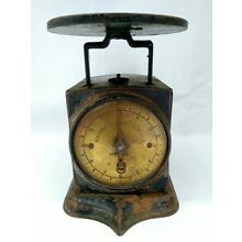 19TH C PATENT1865 PAINTED SIDES UNIVERSAL FAMILY SCALE W/ BRASS FACE 12 LB.