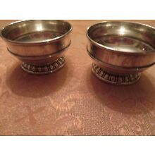 Set of Two Antique Lunt Silversmith Sterling Silver Open Salt Sellers