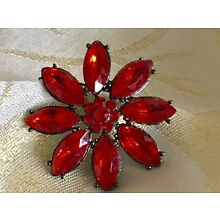 VINTAGE Brooch Christmas Poinsettia Foiled Glass Estate Jewelry Red Pin