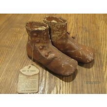 Antique baby shoes John Wanamaker original tag tan leather doll shoe buttons
