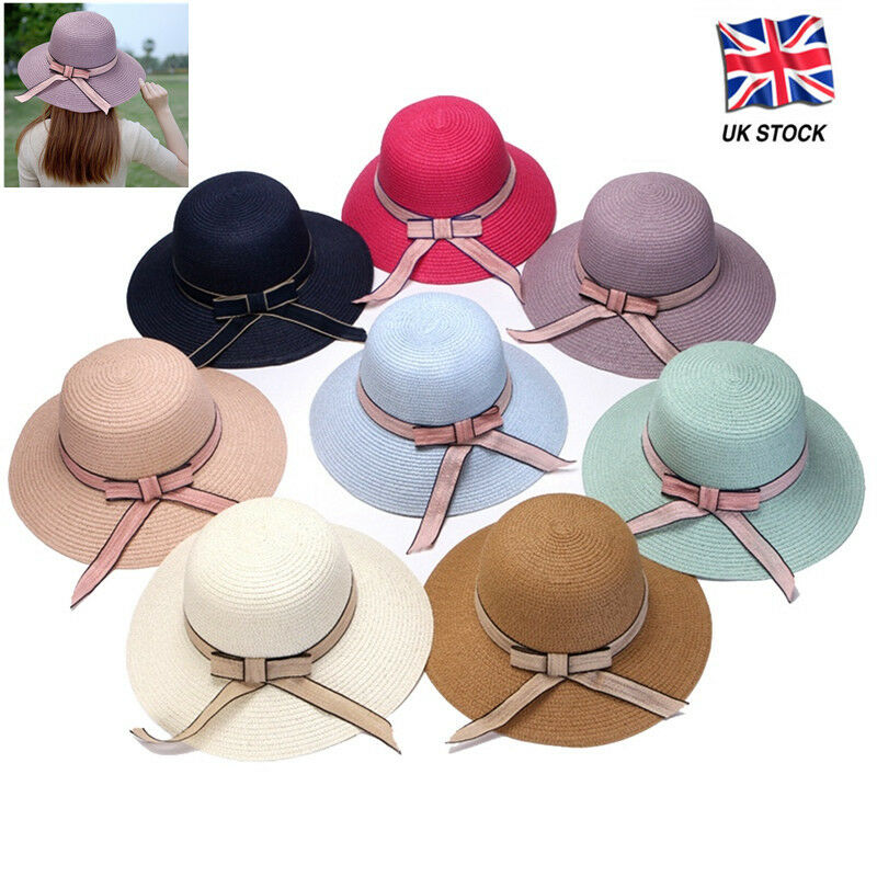 Details about New Ladies Summer Straw Foldable Travel Sun Hat Women s Beach  Caps Bowknot 4a385fbb971