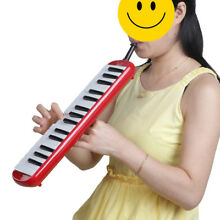 Keyboard Harmonica Melodion 32 key with Soft Case for Beginner Red