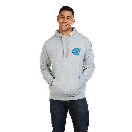 img-Nasa - Circle Logo - Embroidered - Mens - Hoodie - Grey - Size S,M,L,XL,XXL