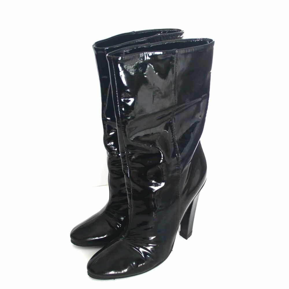 b15c72afa1bc Details about Jimmy CHOO Helena Black Patent Leather Mid Calf High Heel  Booties Boots Size 39