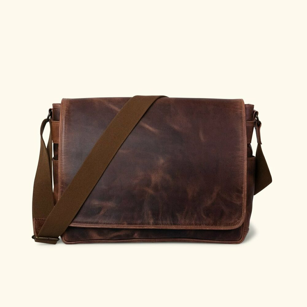 d4d0ab598de Buffalo Leather Satchel Messenger Bag Mens Laptop Computer Shoulder Bag    eBay