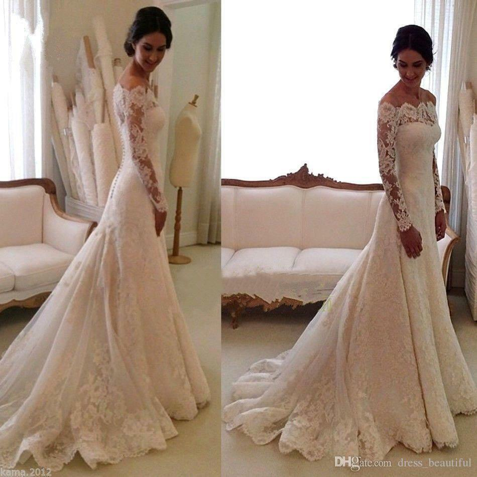 Hot Off Shoulder Long Sleeve Mermaid Wedding Dresses Lace Bridal