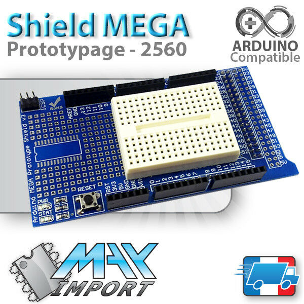 Carte d'extension prototypage Arduino MEGA 2560 + Breadboard 170 pts (Shield V3)