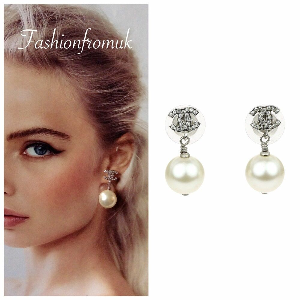 91a872c74 Details about CHANEL Classic Silver Crystal CC logo Pearl Drop Earrings