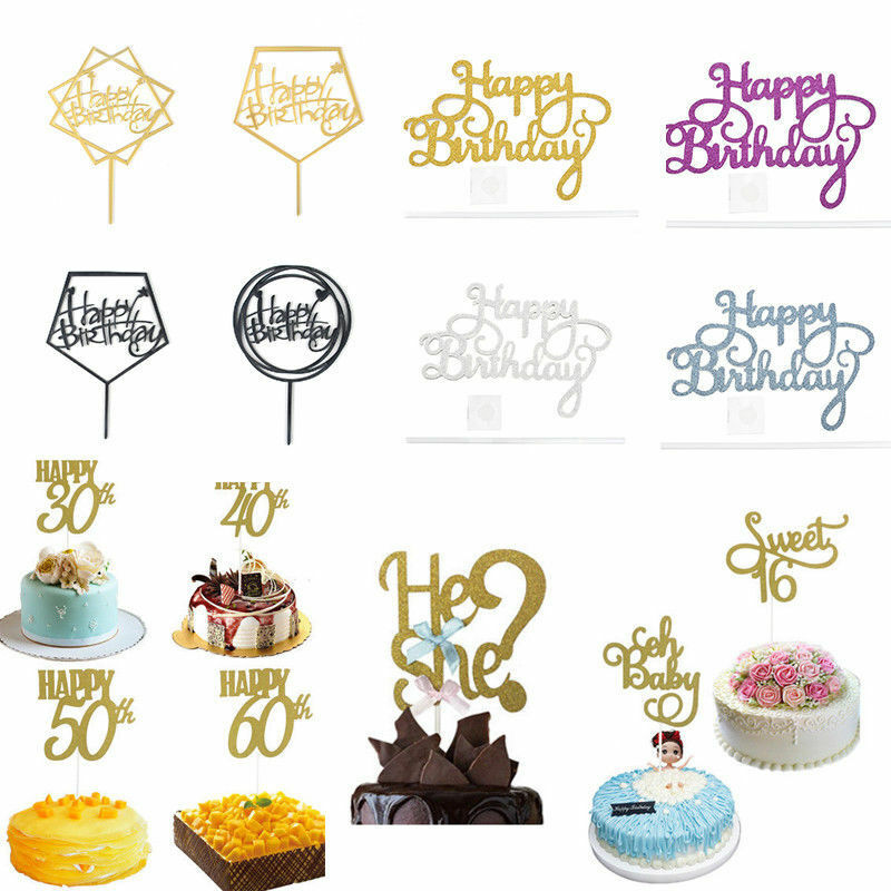 Details About Lots Happy Birthday Cake Topper Card Acrylic Diy Decoration Home Supplies