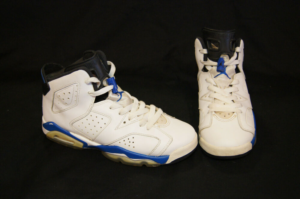 d239709626d1 Details about Nike Air Jordan Retro 6 kids size 6Y white black sport blue  384665-107