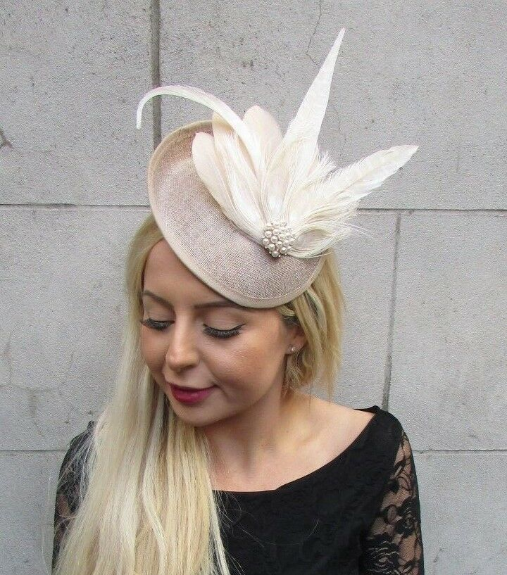 Details about Beige Cream Champagne Feather Disc Saucer Hat Fascinator Hair  Races Wedding 6825 a731af5c0b0