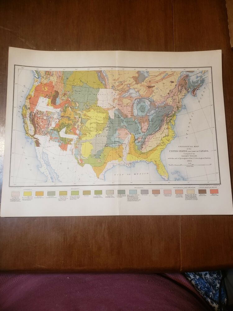 Antique Geological Map Of The United States & part of Canada | eBay