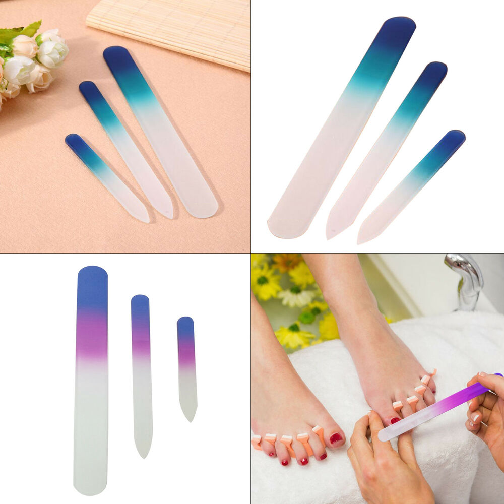 3pcs Glass Nail File Set Professional Tools for Pedicure Manicure ...