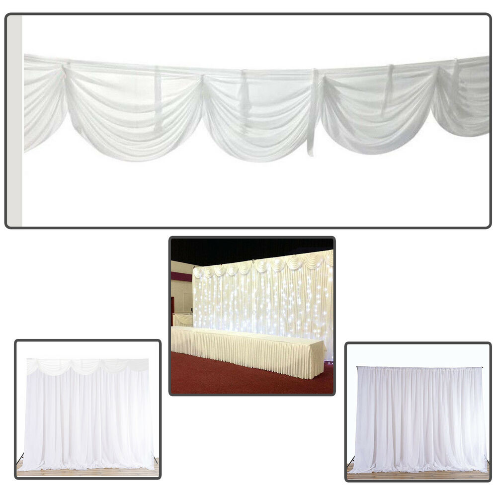 Details About Backdrop Curtains Detachable Swag Glaçon Silk White Events Decor Photo Studio W
