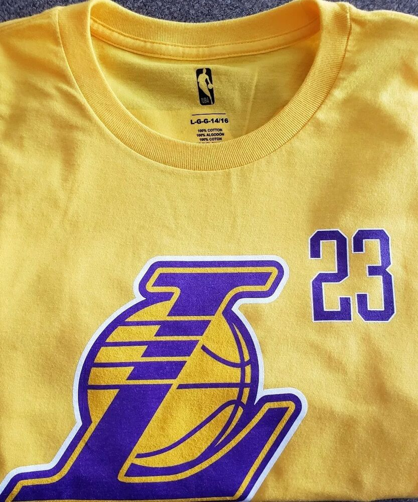 3d6870d5fb8 Details about NBA STORE LA LAKERS LEBRON JAMES YOUTH SIZE LARGE 100% COTTON  TEE, NWT