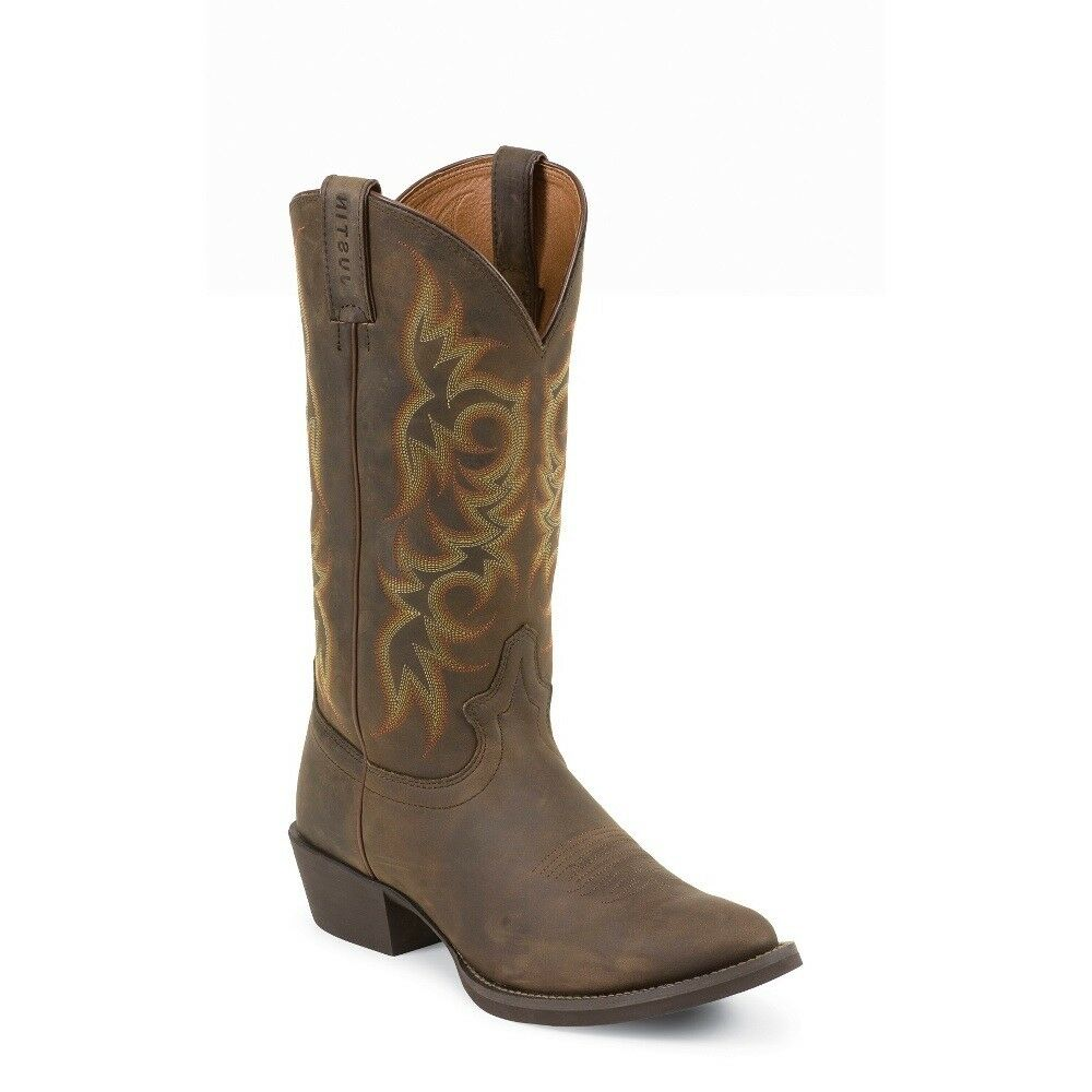 Justin Men S New Stampede Huck Brown Boots 2551 Ebay