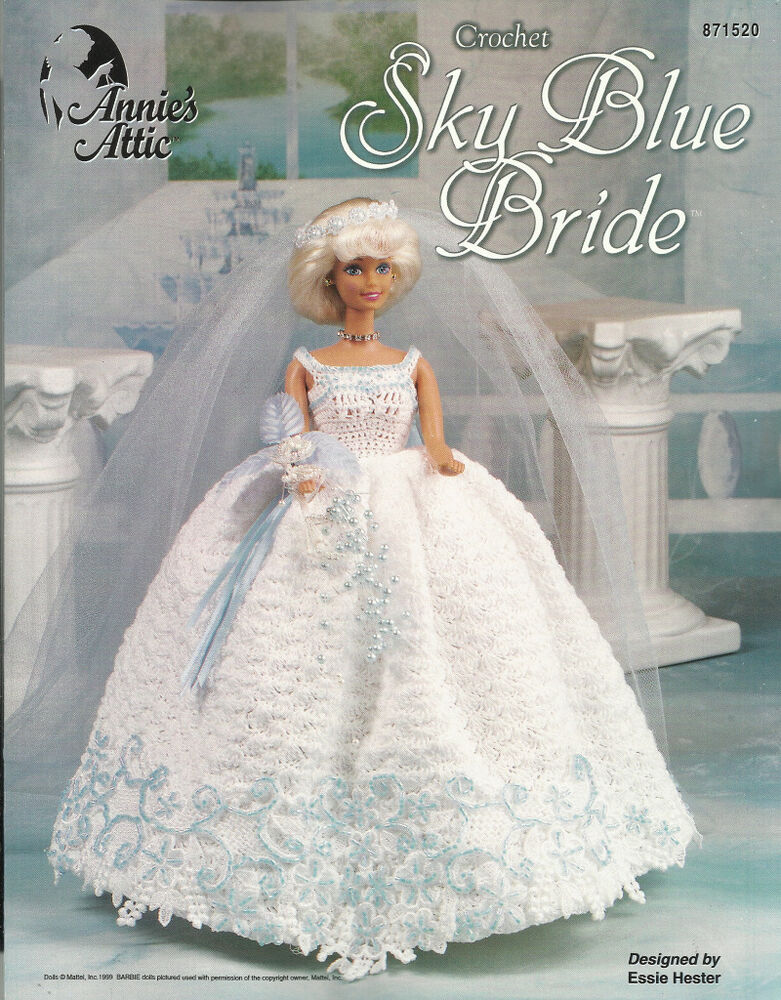 Sky Blue Bride Wedding Dress Crochet Barbie Fashion Doll Clothing
