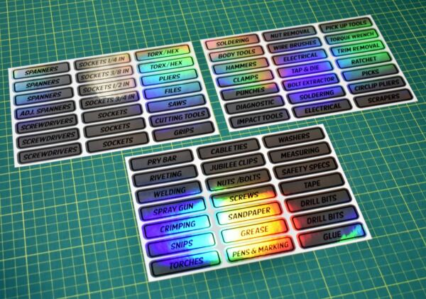 Toolbox Label Stickers for Workshop or Garage - Tool Chest - Special Finish 2