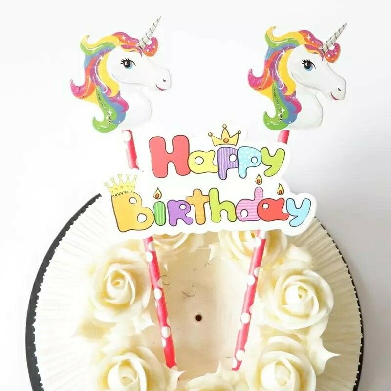 Details About Unicorn Birthday Cake Toppers Decorating Cup Party Kids Happy