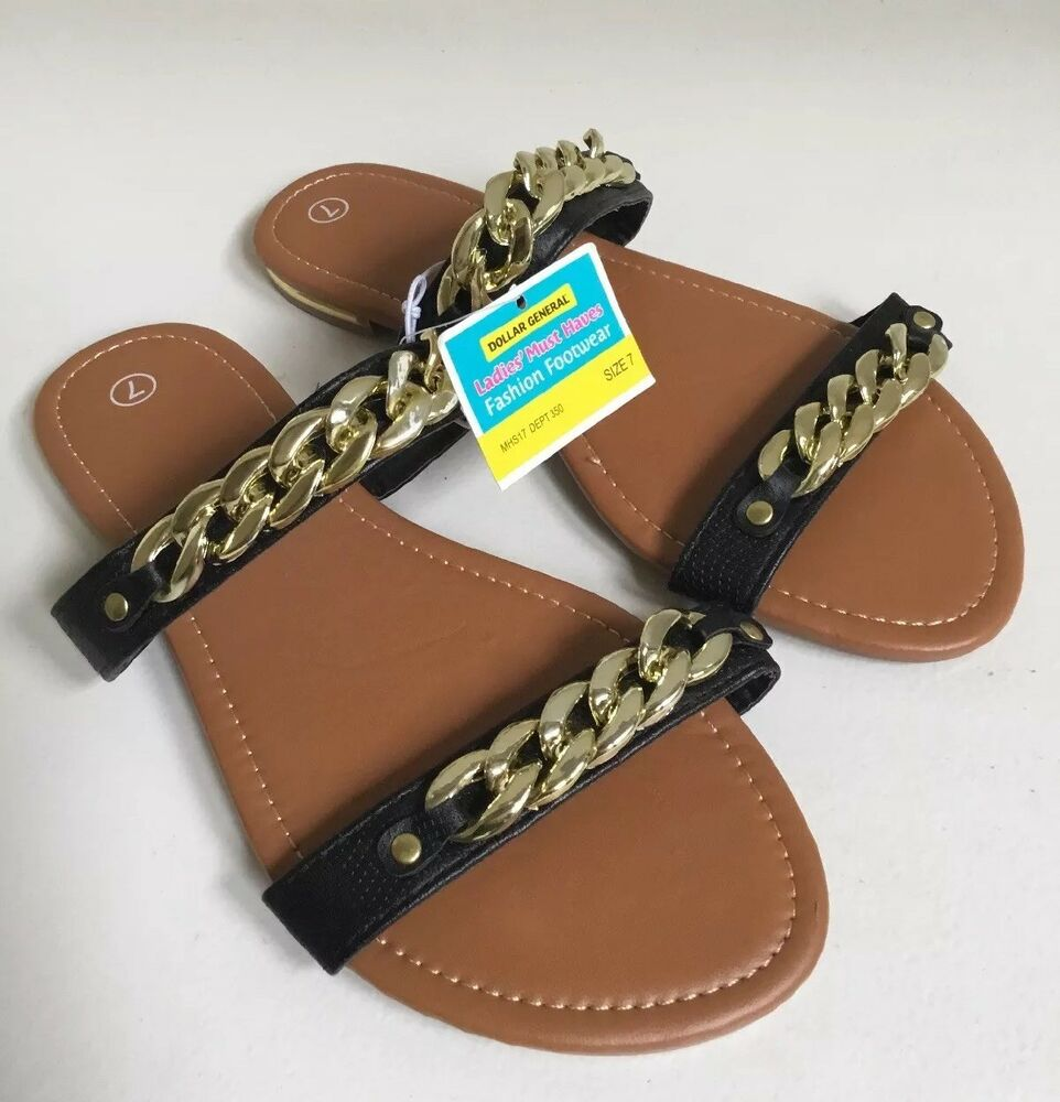 8791387accc8 Details about dollar general must haves sandals black goldtone decoration  size jpg 962x1000 Dollar general sandals