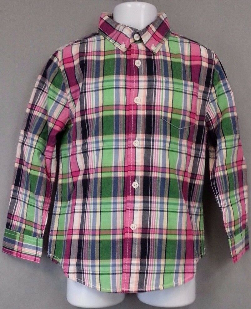 9a1ab3f95b68 Details about NWT NEW Gymboree Long Sleeve Shirt 5T Toddler Boy Green Blue Pink  Plaid Button