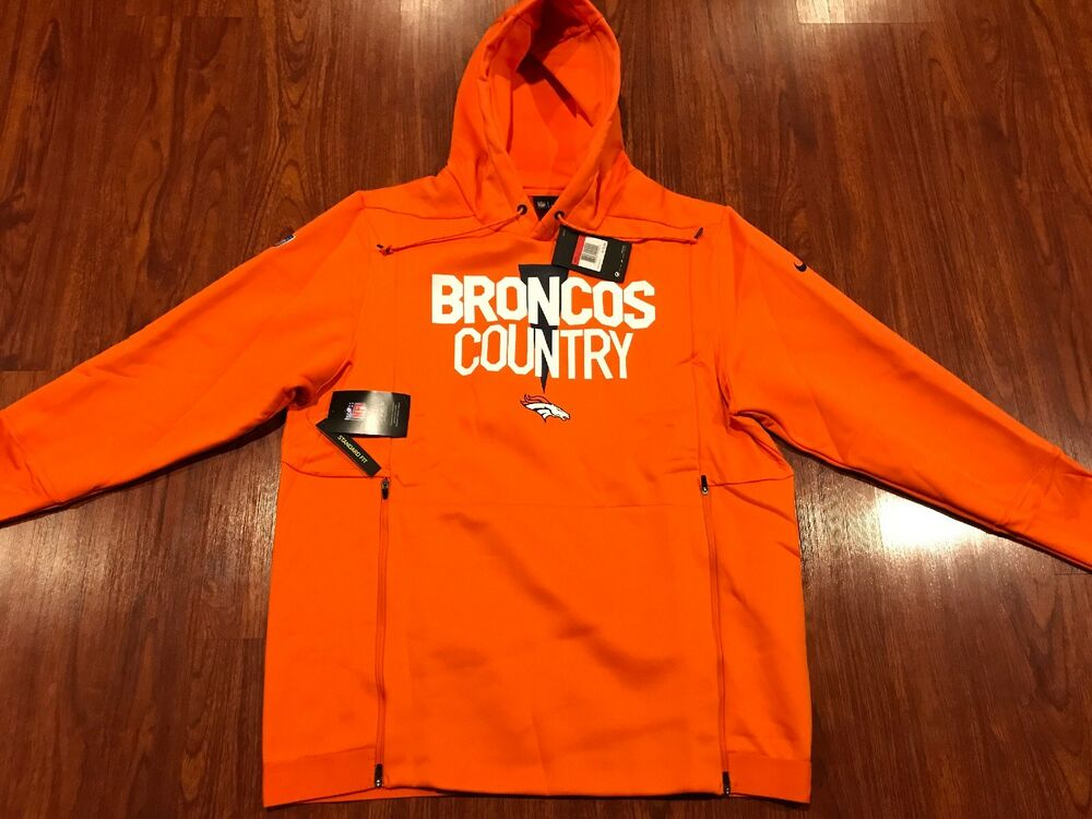 ffa50a2fd Details about Nike Men s Denver Broncos Player Sideline Local Lockup Hoodie  Sweatshirt Large L
