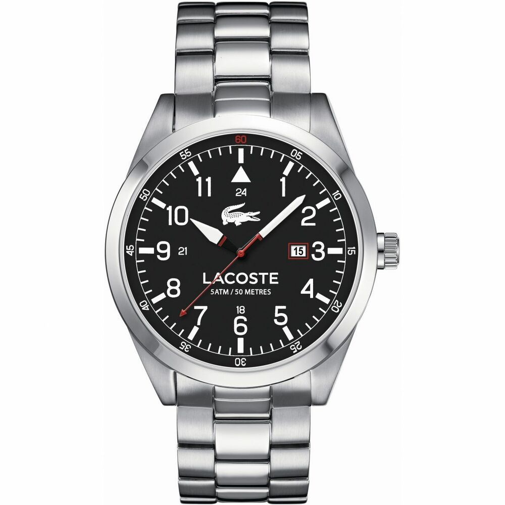 d40141b81dc Details about NIB Lacoste Men s 2010776 Montreal Analog Display Silver Watch  MSRP   245
