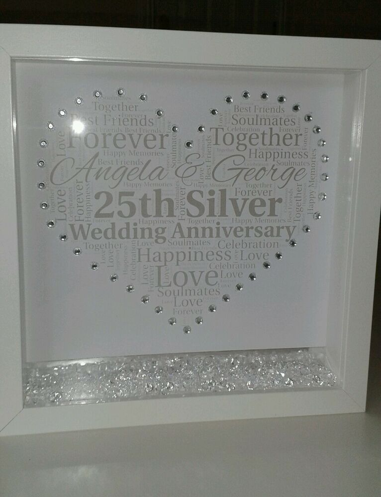 Personalised 25th Wedding Anniversary Gift With Crystals Ebay