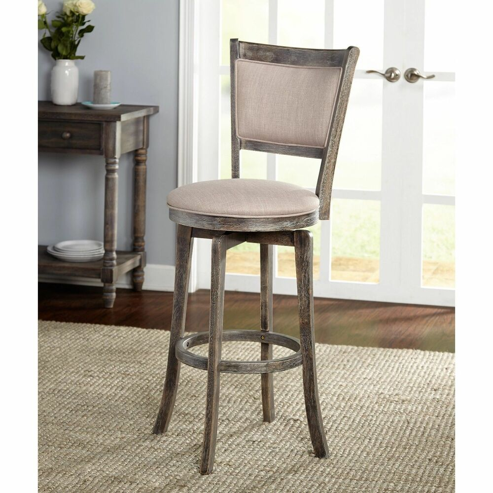 French Country Distressed Grey Wood 30 Inch Swivel Bar Stool Fabric