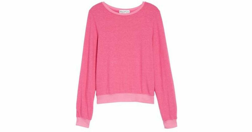 cf30d68067 Details about Wildfox sweatshirt baggy jumper solid pink magenta basic  pullover size: small