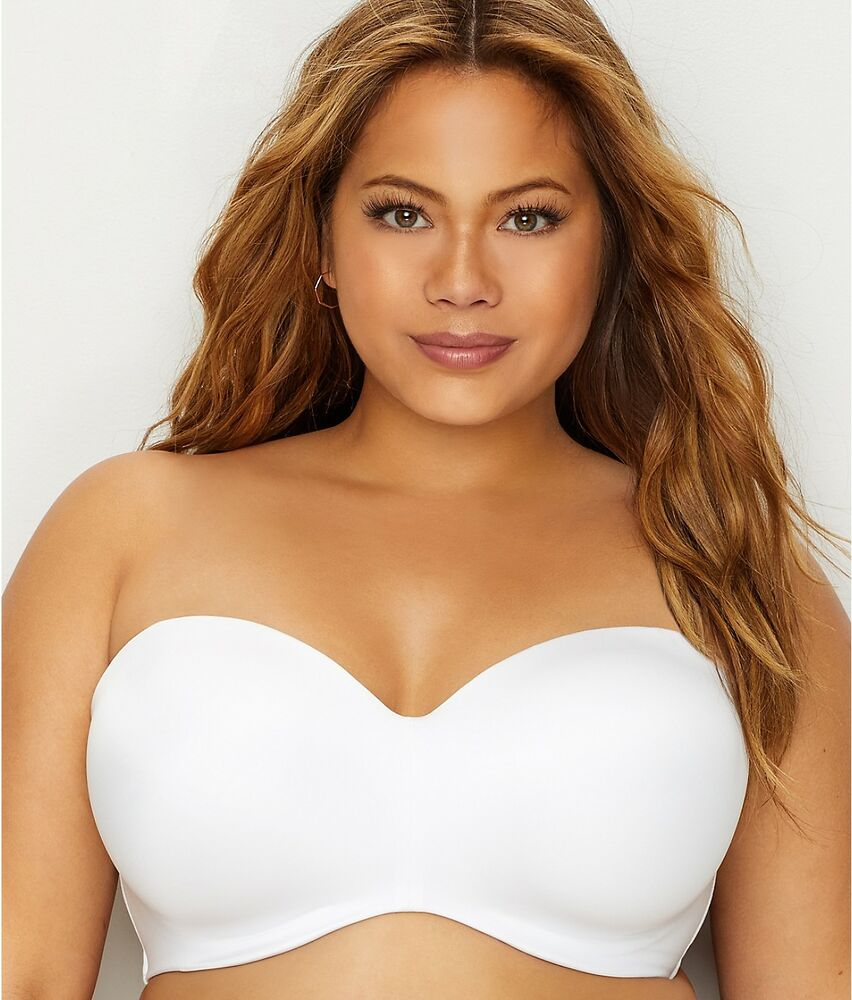 ec5fe48be988a Details about CURVY COUTURE White Smooth Multi-Way Strapless Bra