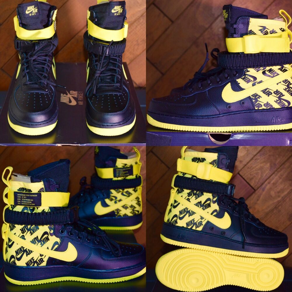 75dbc88ff98ba Details about Nike SF AF1 Air Force One High AR1955-001 Dynamic-Yellow Black