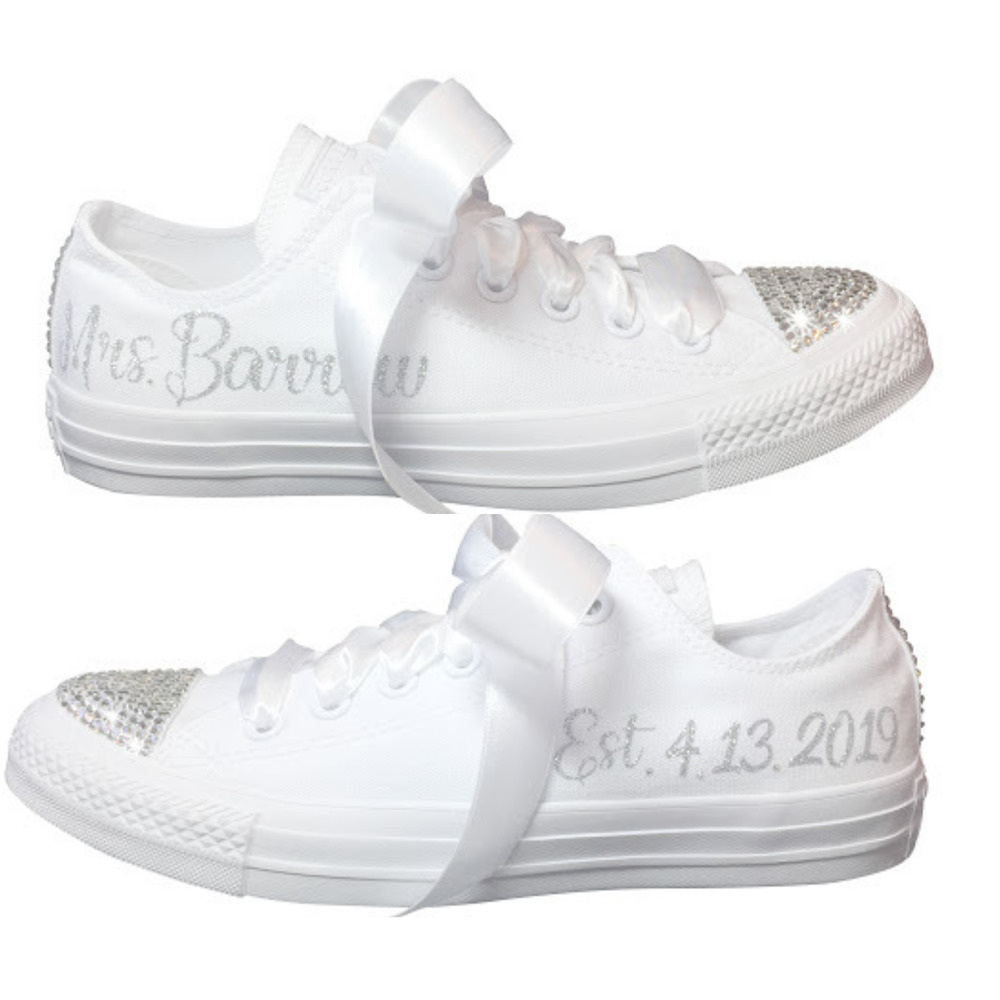 061ad8f2f43781 Details about Wedding CONVERSE Blinged Out and Personalized Bridal Sneaker  for the BRIDE