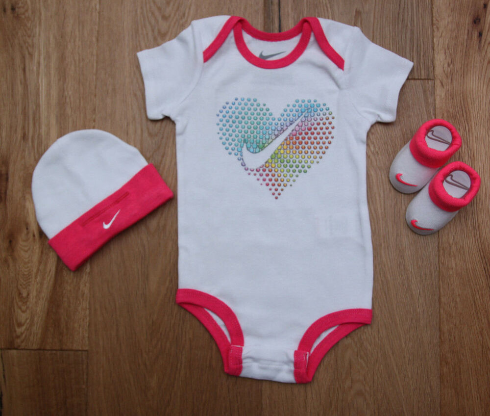 078c66e6e Details about Nike Baby Girl 3 Piece Hat, Bodysuit & Booties Set~White &  Neon Pink~Heart~6-12M