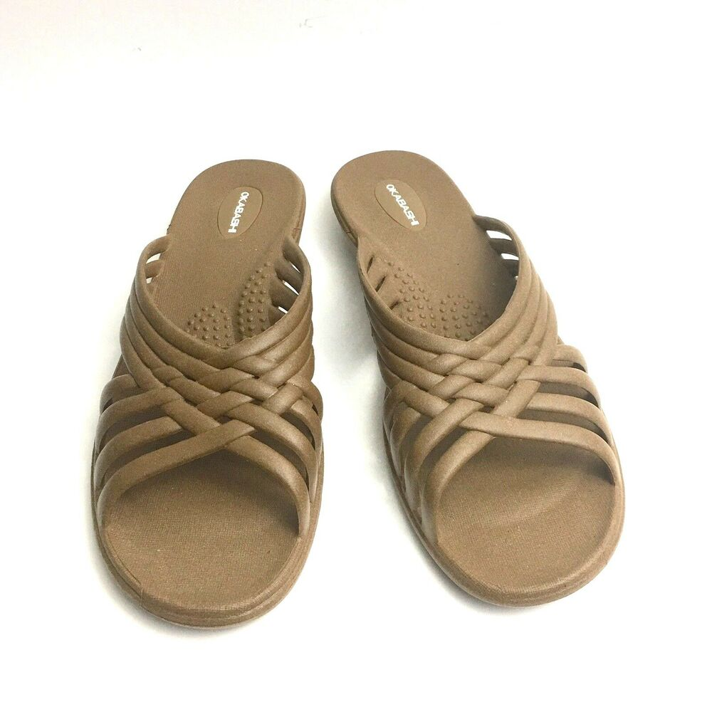 925cc1c717af7f Okabashi Sandals Size 8 9 Brown Slides Strappy Slip On Woven Recycled  Flexible
