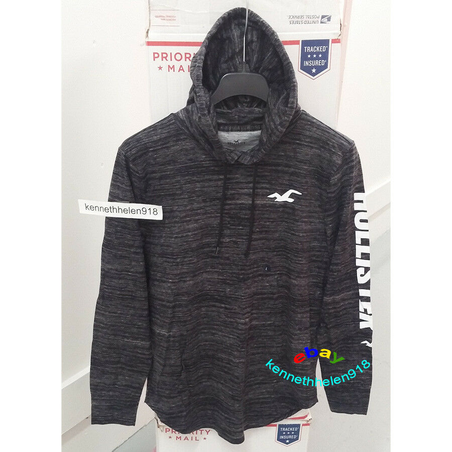 fbbdd421a2 Details about HOLLISTER MENS HOODED GRAPHIC TEE HEATHER BLACK SIZE LARGE