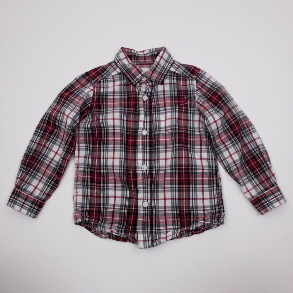 47c487c72 Details about Place Boy's Shirt Toddler Red Plaid Button Up Long Sleeve  Cotton 4T