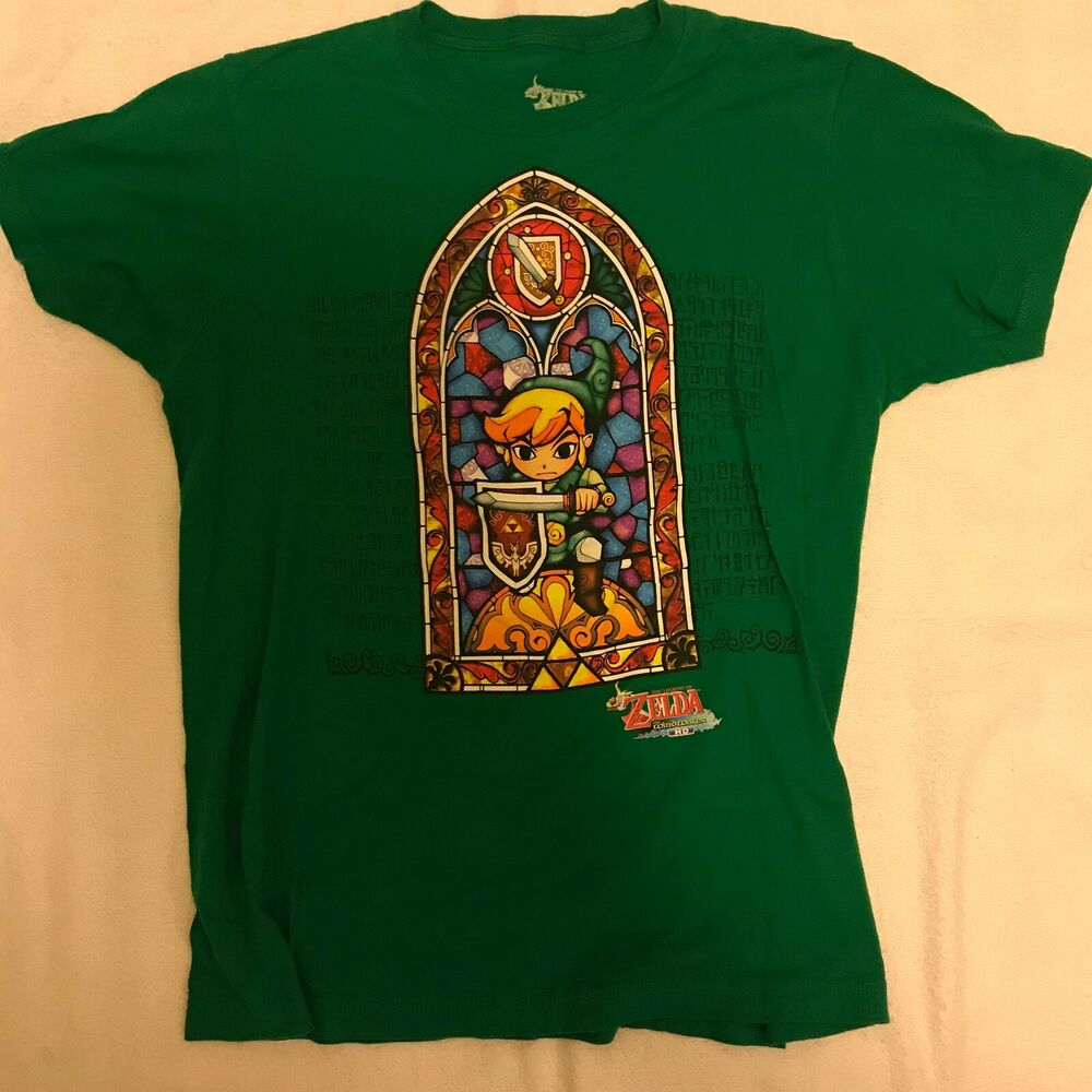 0aa6cbf2 Details about The Legend of Zelda Stained Glass Wind Waker HD Med T-Shirt  Tee St. Patricks Day