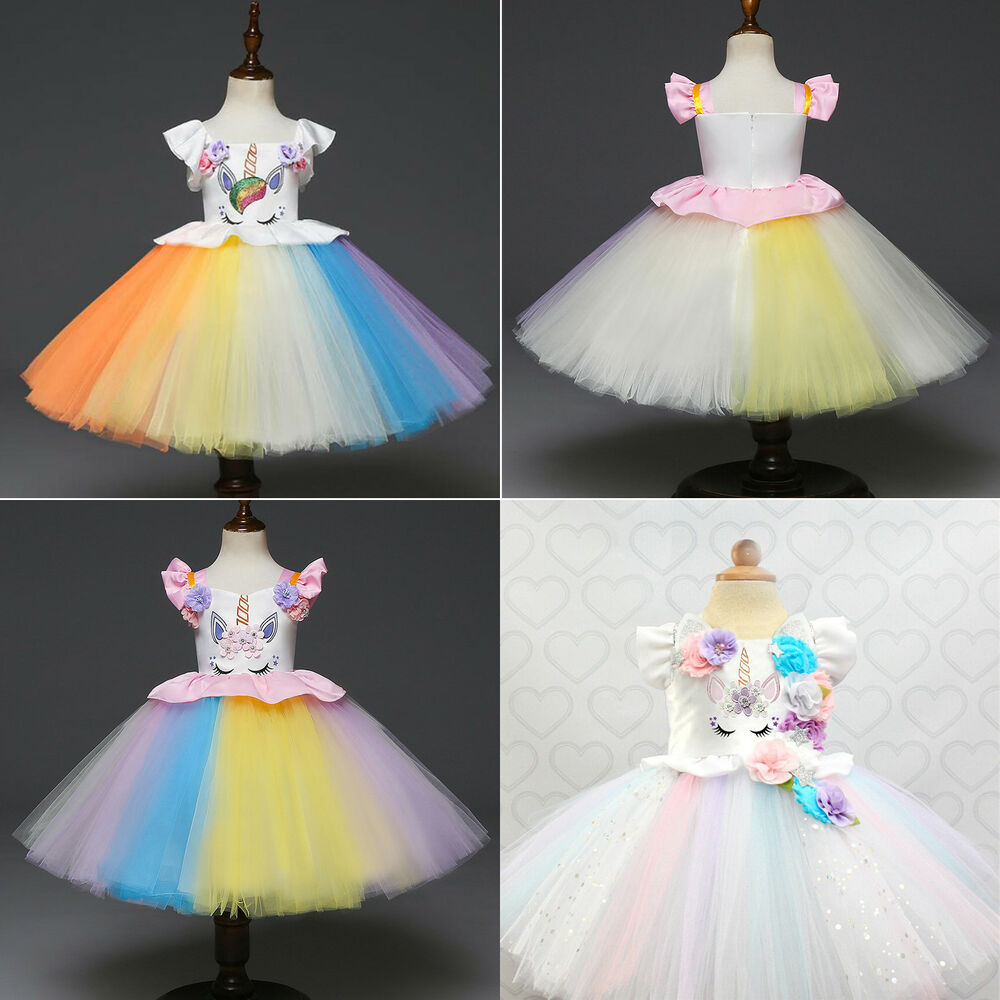 5012c60348 Details about Kids Flower Girls Princess Dress Unicorn Rainbow Tutu Dress  Party Bridal Cosplay
