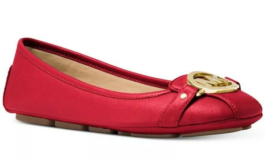 d8bbf1f042b Details about New Michael Kors fulton Ballet flat MK logo saffiano leather  Moc Bright Red shoe