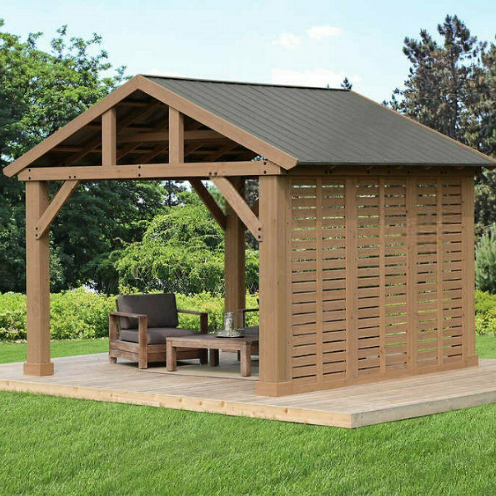 Yardistry 12 Pavilion Privacy Wall Finished In Mocha