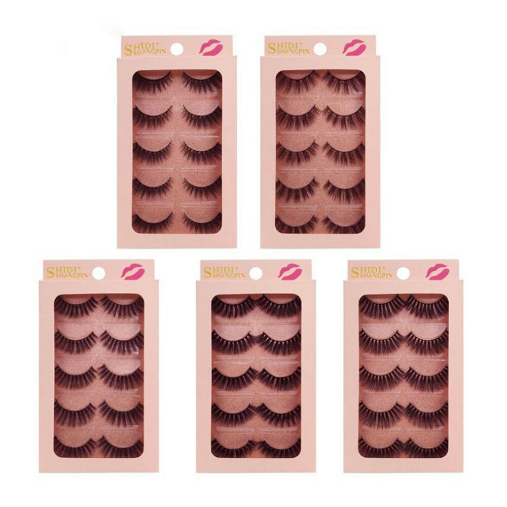 feda9f6f1ab Details about 5 Pairs natural 3D eyelashes 1cm-1.5cm mink lashes hand made 3D  false eyelashes